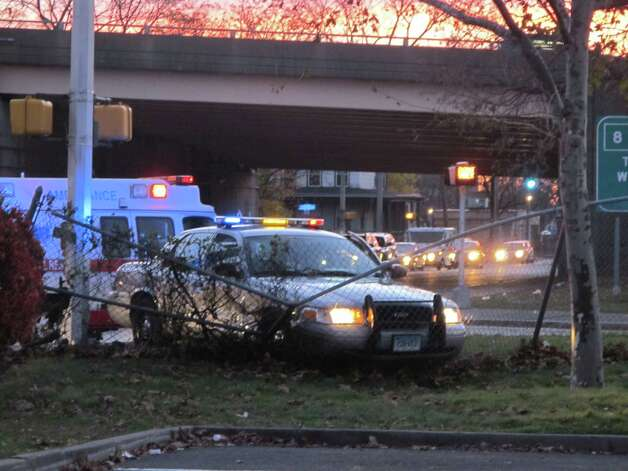A State Police cruiser was involved in a crash at the intersection of Prospect and Warren streets in Bridgeport, Conn. on Friday, Nov. 16, 2012. Photo: Tom Cleary