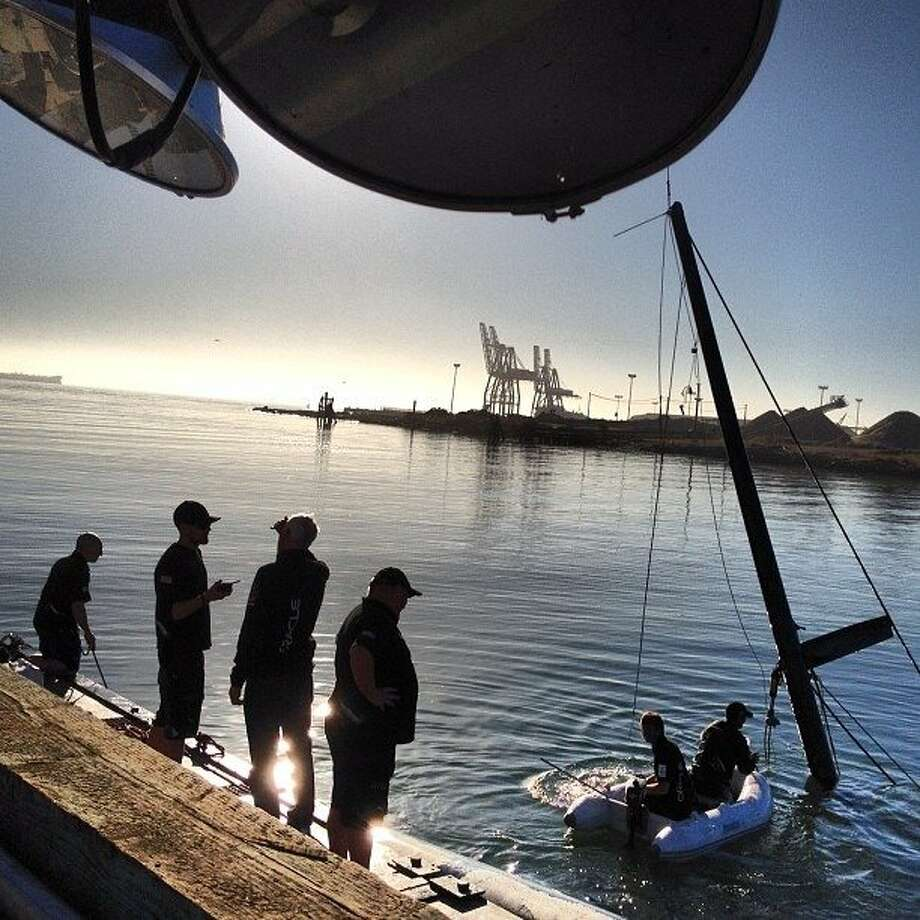 The spine of Oracle's capsized boat being pulled from the water. http://instagr.am/p/Q46-ZEpIoW/ Photo: Liz Hafalia, The Chronicle