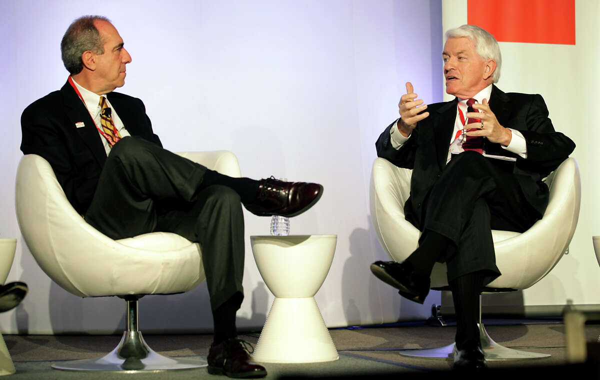 Jaime Serra Puche, left, Head HAFTA Negotiator for Mexico from 91-94, and Thomas Donohue, President and CEO of U.S. Chamber of Commerce, speak on a panel at NAFTA20 North America Summit, at The Westin La Cantera, Friday, Nov. 16, 2012.