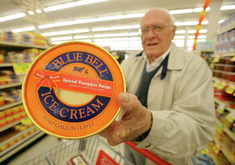 With temperatures dropping and fall settling in, pumpkin flavors are becoming more popular. Dan Rogas displays the carton of pumpkin ice cream that he bought Tuesday at Market Basket in Beaumont. Photo taken Tuesday, November 13, 2012 Guiseppe Barranco/The Enterprise Photo: Guiseppe Barranco, STAFF PHOTOGRAPHER / The Beaumont Enterprise