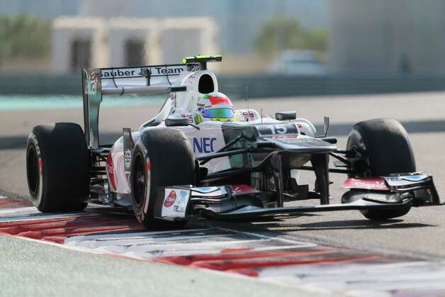 Sauber's Mexican driver Sergio Perez  drives during the first practice session at the Yas Marina circuit on November 2, 2012 in Abu Dhabi ahead of the Abu Dhabi Formula One Grand Prix.   AFP PHOTO / KARIM SAHIBKARIM SAHIB/AFP/Getty Images Photo: KARIM SAHIB, Getty Images / AFP
