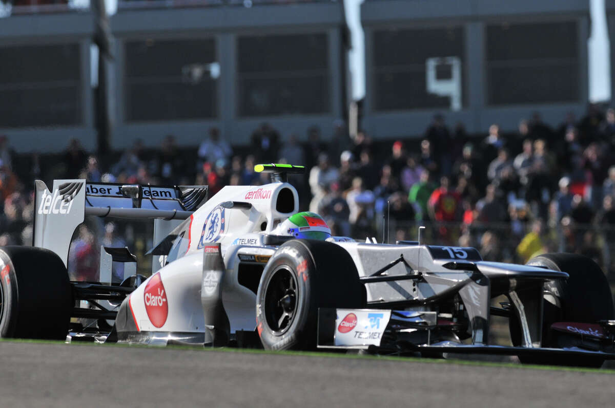 Sergio Perez of Mexico in a Sauber during the first practice session Friday for the United States Grand Prix at the Circuit of the America's in Austin.