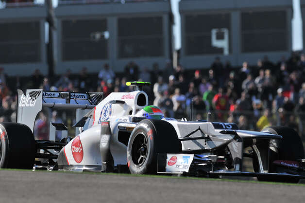 Sergio Perez of Mexico in a Sauber during the first practice session Friday for the United States Grand Prix at the Circuit of the America's in Austin. Photo: Express-News