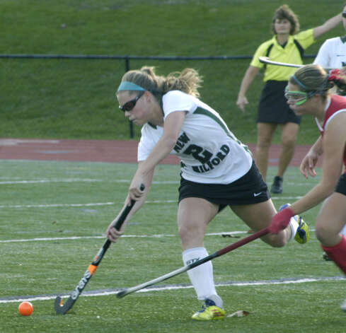 New Milford High School field hockey's 1-0 triple-overtime victory over New Canaan in the state  class 'L' quarterfinals at Brookfield High. Nov. 12, 2012 Photo: Norm Cummings