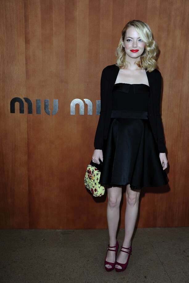 More of the winner: Emma Stone shows a different look at the Miu Miu Spring/Summer 2013 show as part of Paris Fashion Week on October 3, 2012 in Paris, France. Photo: Pascal Le Segretain, Getty Images / 2012 Getty Images