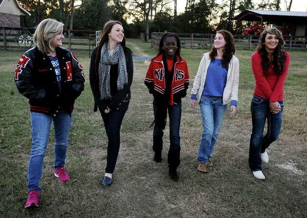 From left to right; Rebekah Richardson, 17, Savannah Short, 14, Ashton Lawrence, 16, Kieara Moffett, 16, and Macy