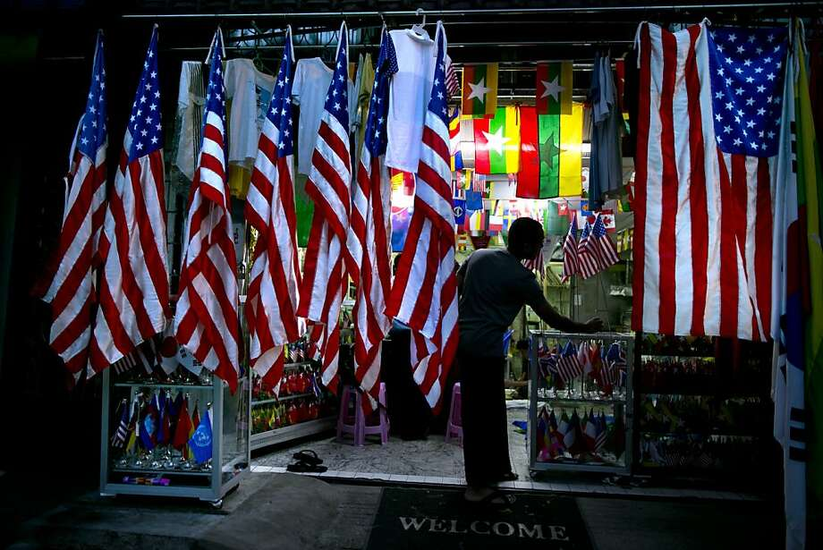American flags are displayed at a flag shop in Rangoon, Burma, ahead of President Obama's visit. Photo: Paula Bronstein, Getty Images