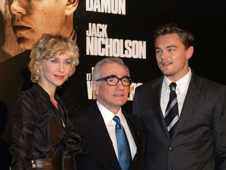 Scorsese (center) also cast Vera Farmiga (left) with Leonardo DiCaprio (right) in