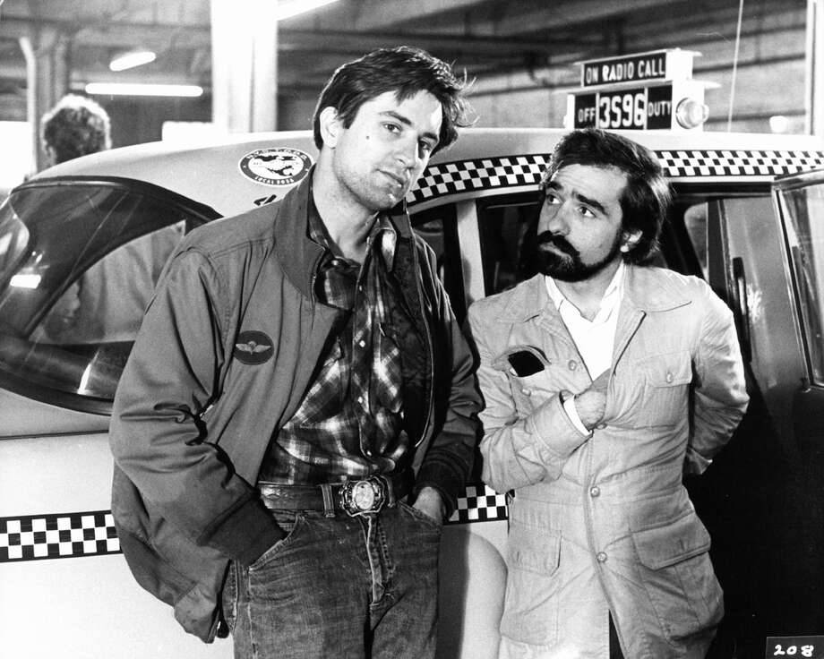 "Robert De Niro (left) and Martin Scorsese on the set of ""Taxi Driver"" in 1976. Photo: Columbia Pictures, Getty Images / Getty Images"