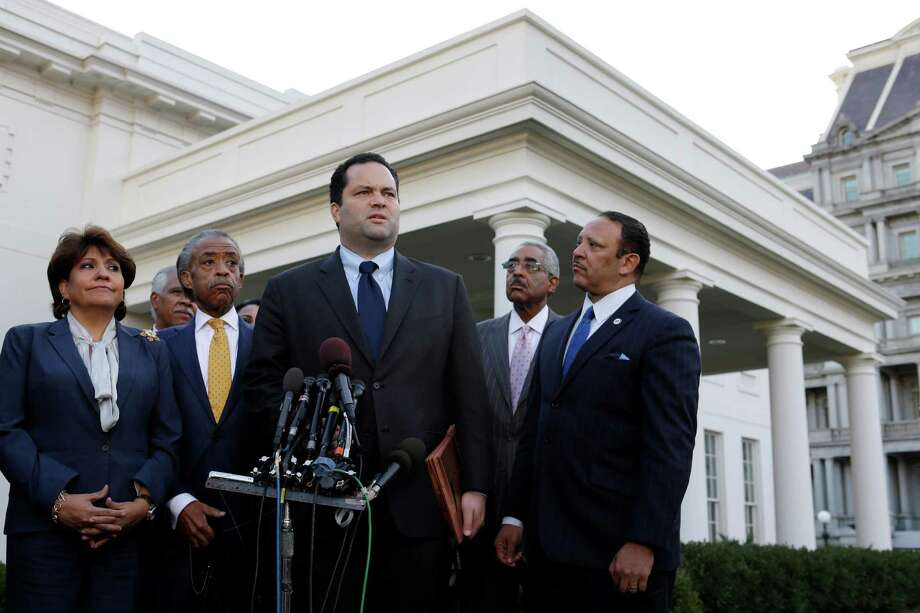 Civic leaders (from left): National Council of La Raza President Janet Murguia, the Rev. Al Sharpton of the National Action Network, then-NAACP President Ben Jealous, AARP CEO Barry Rand and National Urban League President Marc Morial, speak to reporters outside the White House in 2012. Photo: Jacquelyn Martin / Associated Press / AP
