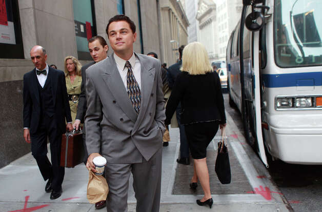 "Leonardo DiCaprio will soon appear in Martin Scorsese's latest movie, ""The Wolf of Wall Street,"" a story of financial fraud, pictured during filming in Manhattan on Aug. 25, 2012.  Photo: Aby Baker, Getty Images / 2012 Aby Baker"