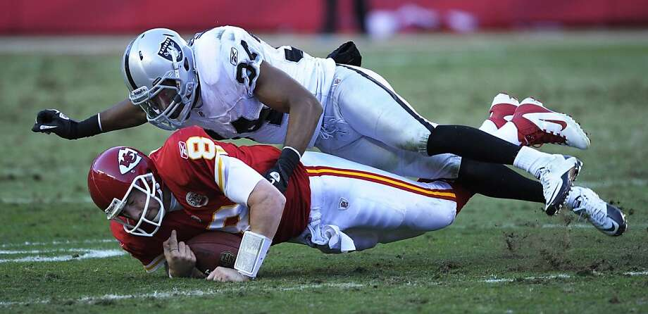 Mike Mitchell (34), tackling the Chiefs' Kyle Orton in 2011, might get his first full-fledged start in four years with the Raiders. Photo: Reed Hoffmann, ASSOCIATED PRESS