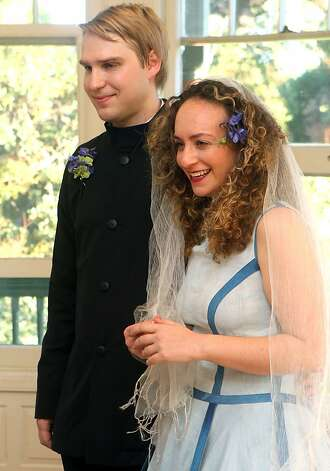 The wedding of Aliza Rand and Joel Kaipainen at the Falkirk Mansion and Gardens Cultural Center in San Rafael Sunday, Nov. 4, 2012 debuted a stunning reversible dress warn by the bride that was designed by Aliza and her mother-in-law, Sabine Kaipainen. Photo: Lance Iversen, The Chronicle