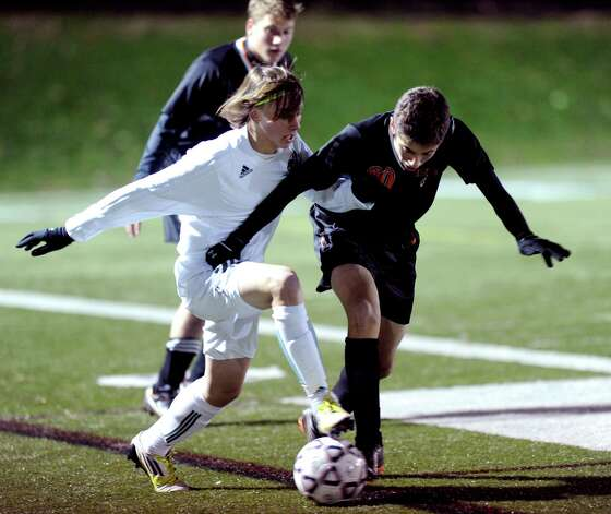 Friday's Class LL boys soccer semifinal game between Norwalk and Stamford at New Canaan High School on November 16, 2012. Photo: Lindsay Niegelberg / Stamford Advocate