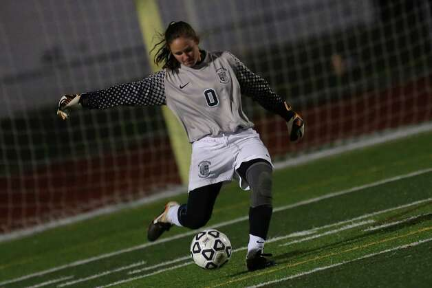 Mike Ross Connecticut Post freelance -Immaculate's #0 goalie ( name not on roster) takes the kick down field  during Friday evenings Class S state semifinals against Old Lyme. Photo: Mike Ross / Connecticut Post Freelance