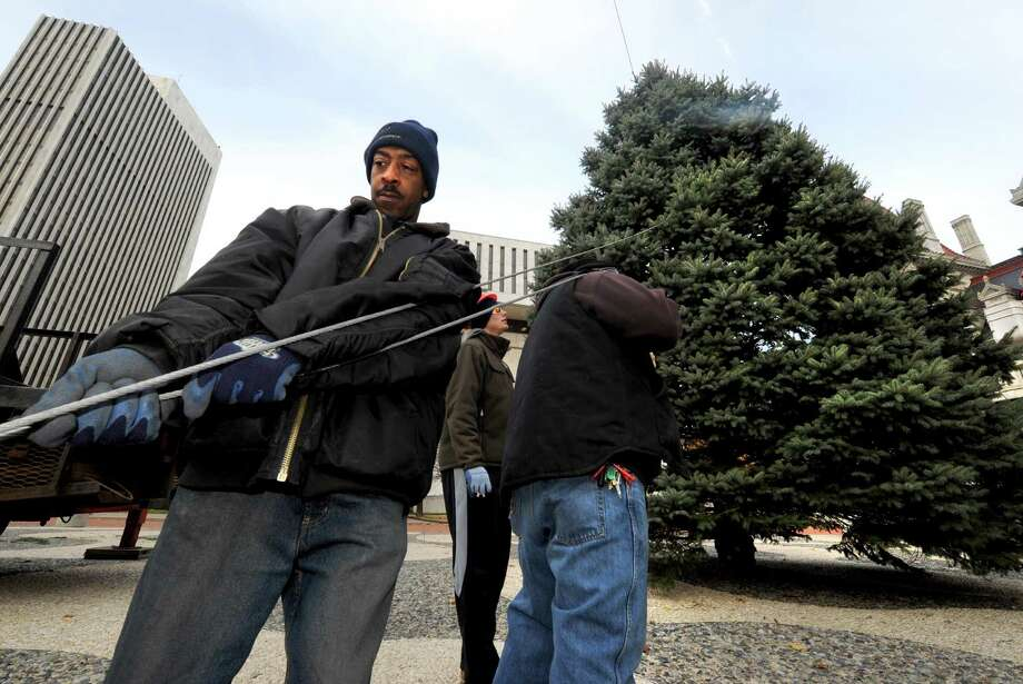 OGS grounds worker Juan Thomas holds a tether line as the Christmas tree at the Empire State Plaza is put in place in Albany, NY Friday Nov. 16, 2012. (Michael P. Farrell/Times Union) Photo: Michael P. Farrell