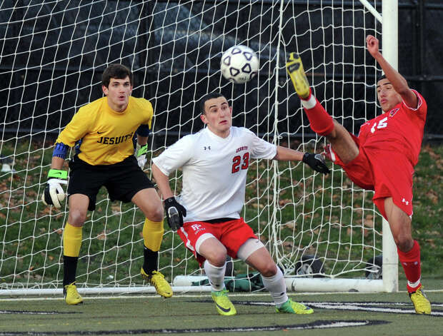 Greenwich's Paul Quiroga takes a shot against Fairfield Prep during Friday's Class LL boys soccer semifinal game at New Canaan High School on November 16, 2012. Photo: Lindsay Niegelberg / Stamford Advocate