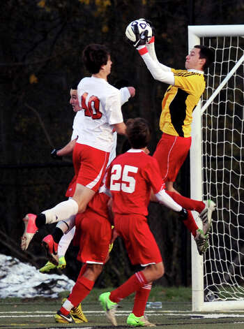 Friday's Class LL boys soccer semifinal game between Greenwich and Fairfield Prep at New Canaan High School on November 16, 2012. Photo: Lindsay Niegelberg / Stamford Advocate