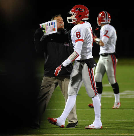 New Canaan Head Coach Lou Marinelli, during boys football action against Trumbull in Trumbull, Conn. on Friday November 16, 2012. Photo: Christian Abraham / Connecticut Post