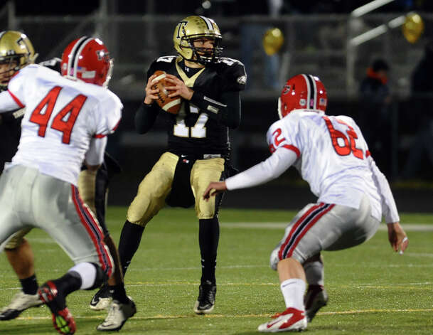 Trumbull QB Nick Roberts, during boys football action against New Canaan in Trumbull, Conn. on Friday November 16, 2012. Photo: Christian Abraham / Connecticut Post