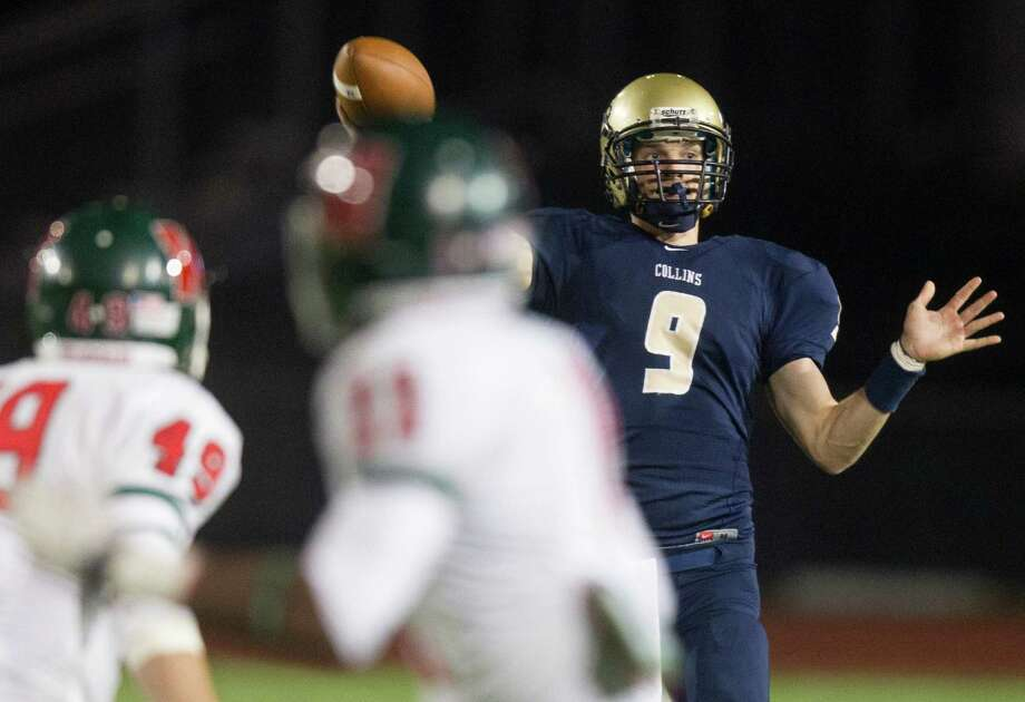 Klein Collins quarterback Blake Jackson (9) launches a pass during the second quarter of a high school football game against the Woodlands at Klein Memorial Stadium on Friday, Nov. 16, 2012, in Spring. Photo: J. Patric Schneider, For The Chronicle / © 2012 Houston Chronicle