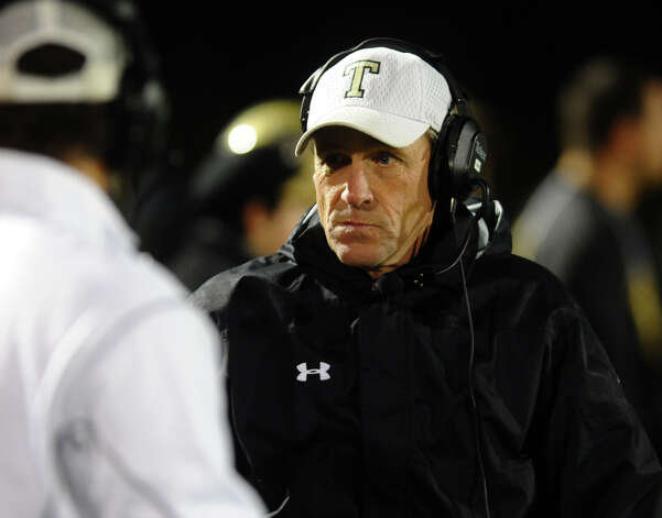 Trumbull Head Coach Bob Maffei, during boys football action in Trumbull, Conn. on Friday November 16, 2012. Photo: Christian Abraham / Connecticut Post