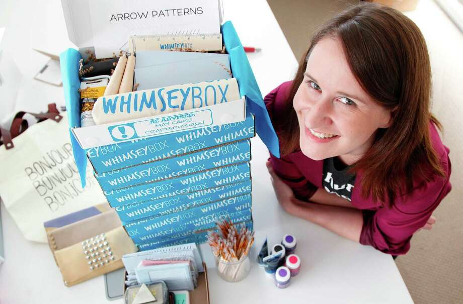 Alicia DiRago is founder of Whimseybox, a subscription service where subscribers are shipped do-it-yourself crafts projects. For $15 a month, subscribers get a box filled with materials and instructions on how to complete projects. Photo: Mayra Beltran, Staff / © 2012 Houston Chronicle