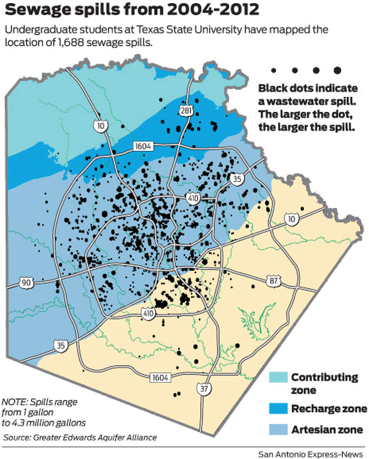 Undergraduate students at Texas State University have mapped the location of 1,688 sewage spills.