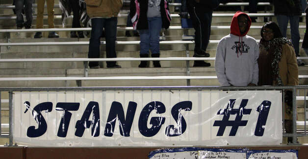 A West Orange-Stark banner displayed during the Class 3A Division II playoff game against Cleveland Friday at the Beaumont ISD Thomas Center. (Matt Billiot/Special to the Enterprise)