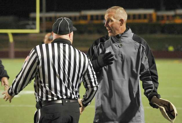 Pirates Head Coach Jeff Mathews, right, had words with one of the refs over a call he did not like. The Vidor High School Pirates football team played the Humble Summer Creek Bulldogs at 7 p.m. Friday night at Clyde Abshier Stadium in Deer Park Texas. This is a Class 4A Division I first round game.  At the half, Humble Summer Creek was ahead 24-14. Dave Ryan/The Enterprise Photo: Dave Ryan
