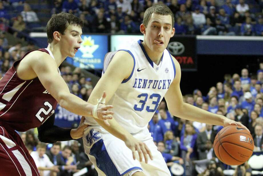Kentucky's Kyle Wiltjer (33) looks for an opening on Lafayette's Alan Flannigan (22) during the first half of an NCAA college basketball game at Rupp Arena in Lexington, Ky., Friday, Nov. 16, 2012. (AP Photo/James Crisp) Photo: James Crisp
