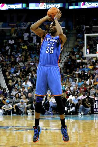Oklahoma City's Kevin Durant (35) shoots the ball during the second half of an NBA basketball game against the New Orleans Hornets in New Orleans, Friday, Nov. 16, 2012. The Thunder won 110-95. (AP Photo/Jonathan Bachman) Photo: Jonathan Bachman