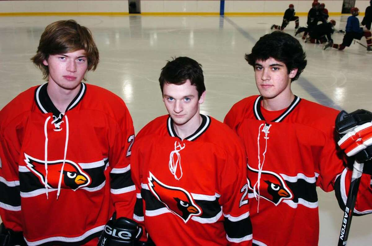 Greenwich High hockey captains from left, Ryan Kelly, Rit Spezzano and Joey Lodato photographed on the ice at Dorothy Hamill in Byram, CT, Tuesday evening, Dec. 15, 2009.