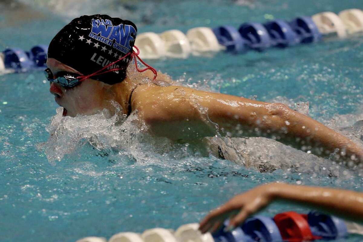 Mike Ross Connecticut Post freelance -Darien High School's Olivia Leunis competes in 200 IM heat during Saturday's State Open Championships at Yale University's Payne Whitney Gym.