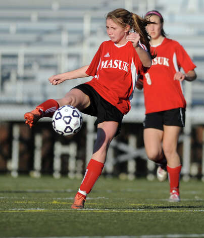 Masuk's Jaime Madden controls the ball during the Class L semifinals against East Lyme Saturday, Nov. 17, 2012 at Municipal Stadium in Waterbury, Conn. Photo: Autumn Driscoll / Connecticut Post