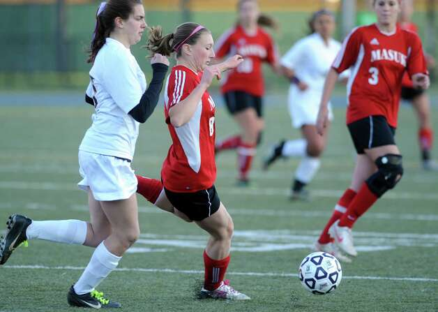 Masuk's Masuk's Kasey Moraveck controls the ball during the Class L semifinals against East Lyme Saturday, Nov. 17, 2012 at Municipal Stadium in Waterbury, Conn. Photo: Autumn Driscoll / Connecticut Post
