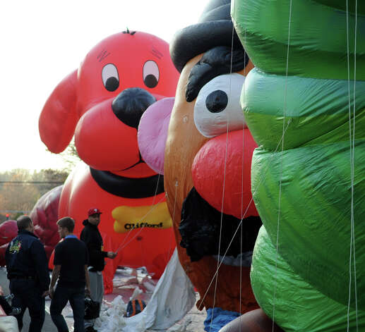 Mr. Potato Head is inflated during Saturday's Balloon Inflation Party near the intersection of Summer and Hoyt Streets in Stamford on November 17, 2012. Photo: Lindsay Niegelberg / Stamford Advocate