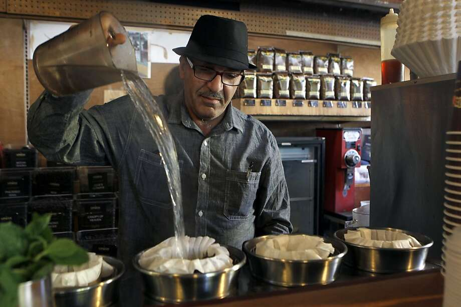 Phil Jaber makes a cup of one of his signature coffees at the birthplace of his Philz Coffee empire, at 24th and Folsom streets, in San Francisco, Calif. on Wednesday, Nov. 14, 2012. Photo: Paul Chinn, The Chronicle