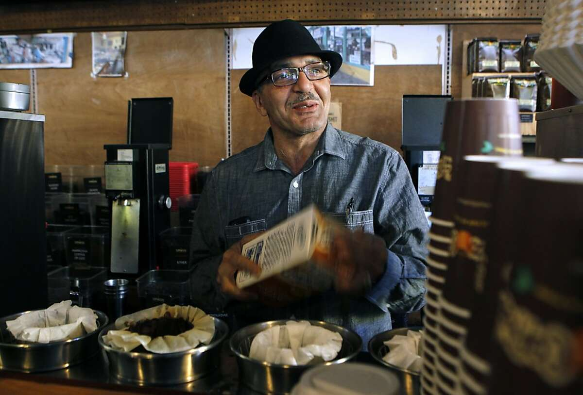 Phil Jaber prepares a cup of one of his signature coffees at the birthplace of his Philz Coffee empire, at 24th and Folsom streets, in San Francisco, Calif. on Wednesday, Nov. 14, 2012.