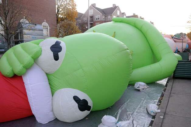 Kermit the Frog is inflated during Saturday's Balloon Inflation Party near the intersection of Summer and Hoyt Streets in Stamford on November 17, 2012. Photo: Lindsay Niegelberg / Stamford Advocate