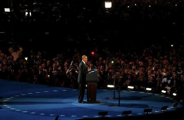 CHICAGO, IL - NOVEMBER 06:  U.S. President Barack Obama delivers his victory speech after being reelected for a second term at McCormick Place November 6, 2012 in Chicago, Illinois. Obama won reelection against Republican candidate, former Massachusetts Governor Mitt Romney.  (Photo by Jonathan Daniel/Getty Images) Photo: Jonathan Daniel, Getty Images / 2012 Getty Images