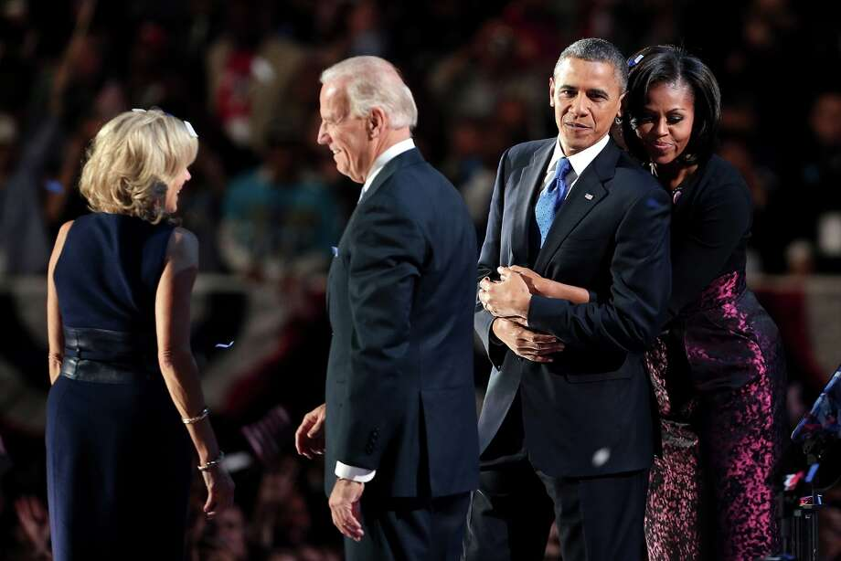 CHICAGO, IL - NOVEMBER 06:  U.S. President Barack Obama stands on stage with first lady Michelle Obama, U.S. Vice President Joe Biden and Dr. Jill Biden after his victory speech on election night at McCormick Place November 6, 2012 in Chicago, Illinois. Obama won reelection against Republican candidate, former Massachusetts Governor Mitt Romney.  (Photo by Spencer Platt/Getty Images) Photo: Spencer Platt, Getty Images / 2012 Getty Images