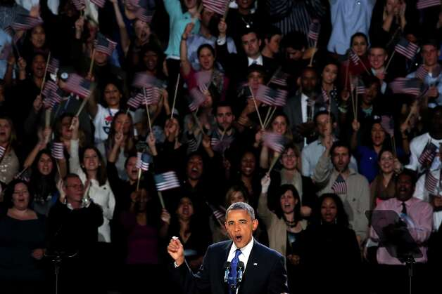CHICAGO, IL - NOVEMBER 06:  U.S. President Barack Obama delivers his victory speech after being reelected for a second term at McCormick Place November 6, 2012 in Chicago, Illinois. Obama won reelection against Republican candidate, former Massachusetts Governor Mitt Romney.  (Photo by Scott Olson/Getty Images) Photo: Scott Olson, Getty Images / 2012 Getty Images