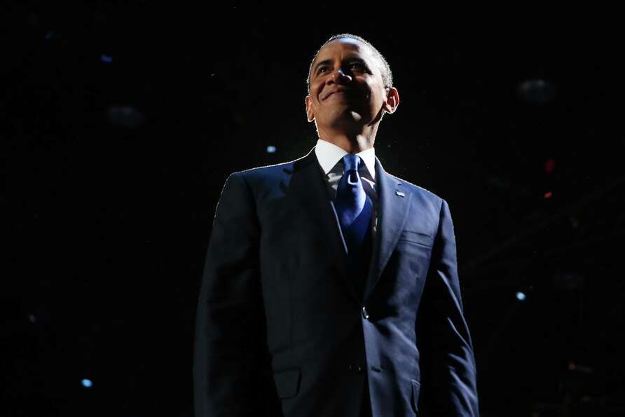CHICAGO, IL - NOVEMBER 06:  U.S. President Barack Obama stands on stage after his victory speech at