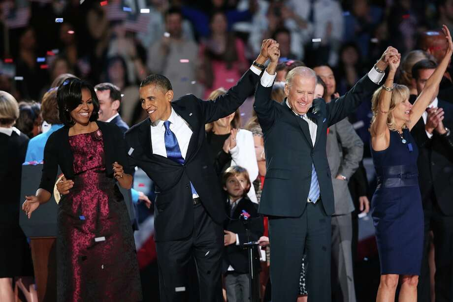 CHICAGO, IL - NOVEMBER 06:  U.S. President Barack Obama stands on stage with first lady Michelle Obama, U.S. Vice President Joe Biden and Dr. Jill Biden after his victory speech on election night at McCormick Place November 6, 2012 in Chicago, Illinois. Obama won reelection against Republican candidate, former Massachusetts Governor Mitt Romney.  (Photo by Scott Olson/Getty Images) Photo: Scott Olson, Getty Images / 2012 Getty Images