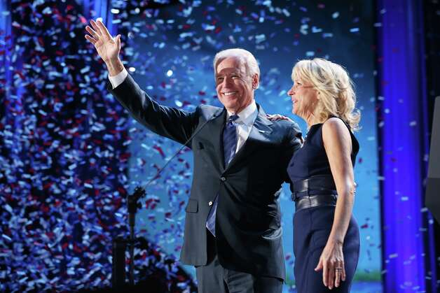 CHICAGO, IL - NOVEMBER 06:  U.S. Vice President Joe Biden and Dr. Jill Biden stand on stage after the victory speech by U.S. President Barack Obama on election night at McCormick Place November 6, 2012 in Chicago, Illinois. Obama won reelection against Republican candidate, former Massachusetts Governor Mitt Romney..  (Photo by Chip Somodevilla/Getty Images) Photo: Chip Somodevilla, Getty Images / 2012 Getty Images