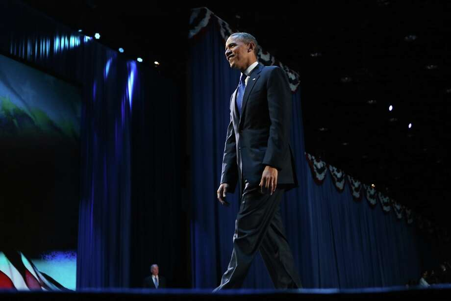 CHICAGO, IL - NOVEMBER 06:  U.S. President Barack Obama stands on stage after his victory speech at McCormick Place November 6, 2012 in Chicago, Illinois. Obama won reelection against Republican candidate, former Massachusetts Governor Mitt Romney.  (Photo by Chip Somodevilla/Getty Images) Photo: Chip Somodevilla, Getty Images / 2012 Getty Images