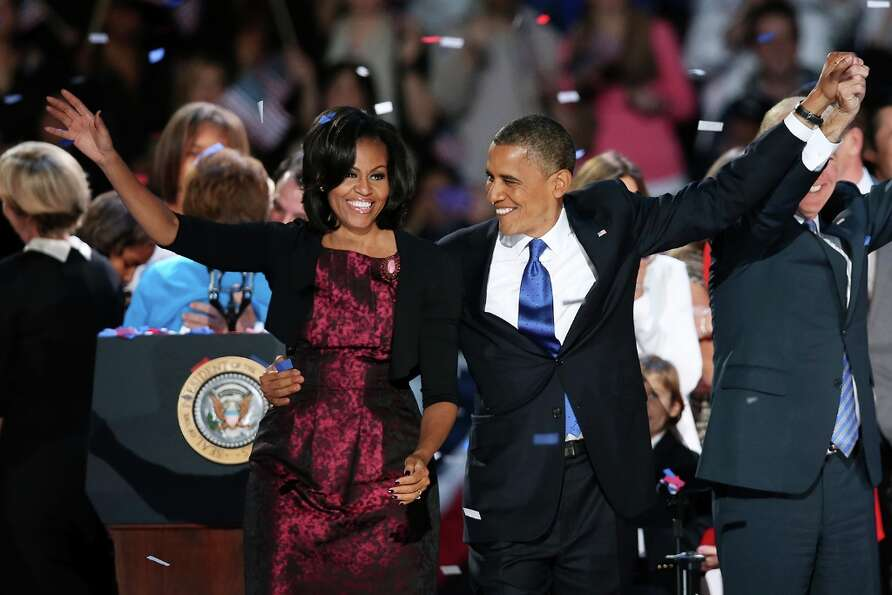 CHICAGO, IL - NOVEMBER 06:  U.S. President Barack Obama stands on stage with first lady Michelle Oba