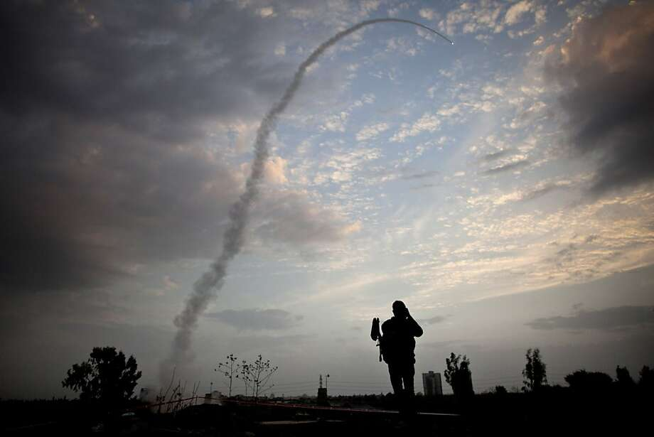 TEL AVIV, ISRAEL - NOVEMBER 17: An Israeli missile from the Iron Dome defence missile system is launched to intercept and destroy incoming rocket fire from Gaza on November 17, 2012 in Tel Aviv, Israel.  At least 39 Palestinians and three Isreali's have died since conflict began four days ago. Israeli troops have been massing on the border as some 200 targets were hit overnight in Gaza, including Hamas cabinet buildings. (Photo by Uriel Sinai/Getty Images) *** BESTPIX *** Photo: Uriel Sinai, Getty Images