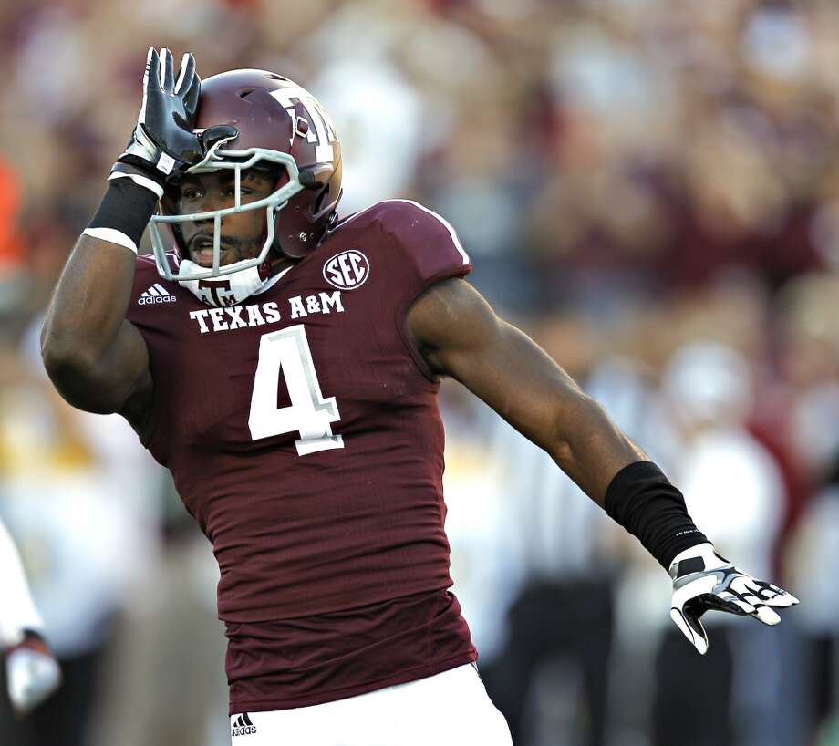 Toney Hurd Jr. #4 of the Texas A&M Aggies celebrates after a defensive stop against the Sam Houston State Bearkats at Kyle Field on November 17, 2012 in College Station, Texas.  (Bob Levey / Getty Images)